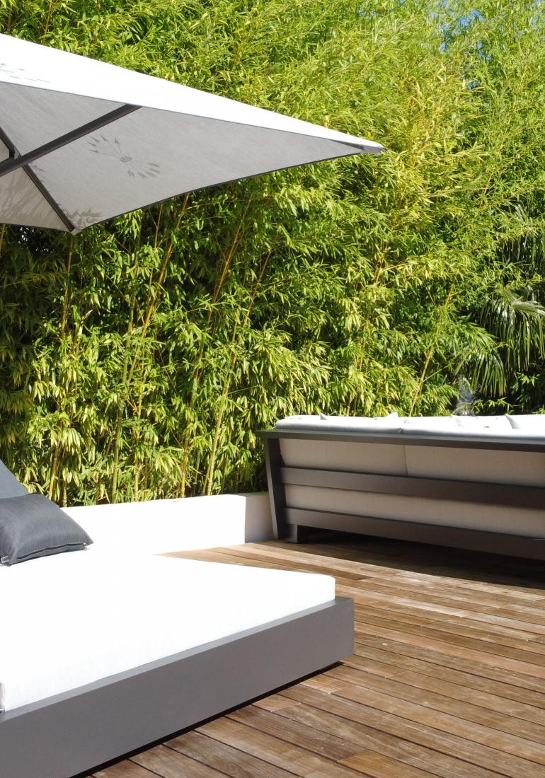 Double beds with integrated parasol