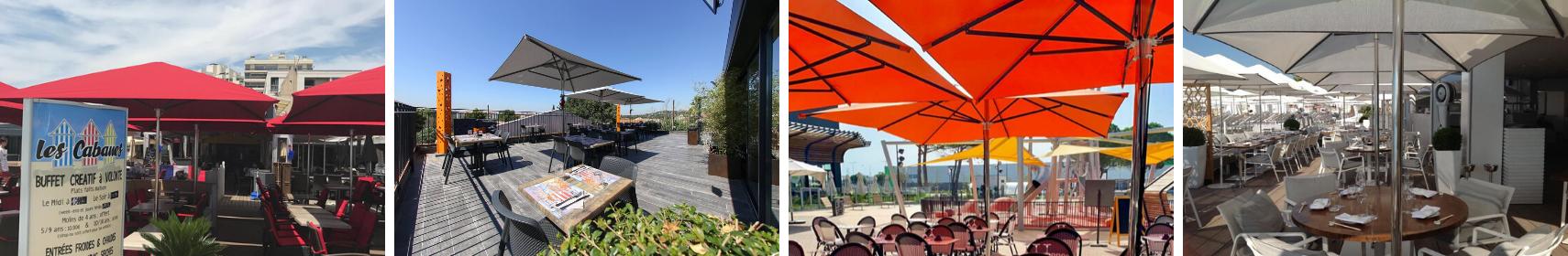 Parasols professionnels de restaurant et brasserie - Mousses Etoiles - Résistance au vent